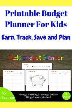 Instant Download Printable Budget Form For Kids Teach Children