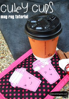 Super cute homemade gifts to make such as this coffee appliqued mug rug.