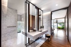 Courtyard house modern bathroom by ming architects modern Toilet Design, Bath Design, Contemporary Baths, Contemporary Interior, Bad Inspiration, Bathroom Inspiration, Bathroom Interior, Modern Bathroom, Stone Bathroom