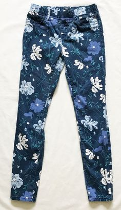 Gap Kids Girl's Skinny Stretch Royal Blue Floral Leggings Pant Size 12 #Gap #LeggingsJeggings