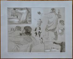 David Blackwood etching, Study for Man Warning Two Boys, 1981, 11 X 14 inches