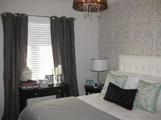 Pictures of drapes in bedrooms bedroom drapes and curtains slate blue curtains window decoration gray designs . Grey Wallpaper Accent Wall, Grey Damask Wallpaper, Black Wallpaper Bedroom, Blue Marble Wallpaper, Accent Walls, Wall Wallpaper, Bedroom Drapes, Grey Curtains, Grommet Curtains