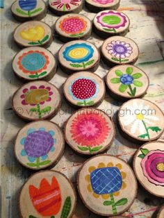 a fair in September flowers painted on wooden slices by Lori McDonough from Fresh Picked Whimsy wood crafts crafts design crafts diy crafts furniture crafts ideas Wood Slice Crafts, Wood Crafts, Diy And Crafts, Crafts For Kids, Arts And Crafts, Diy Wood, Cardboard Crafts, Canvas Crafts, Paper Crafts