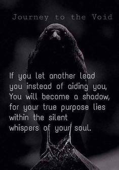the crow or raven. stage of the Alchemical transmutation from Lead into Gold text. we cannot have someone lead us, the journey and its decisions must be our own. No one can do our growth for us. Great Quotes, Quotes To Live By, Me Quotes, Motivational Quotes, Inspirational Quotes, Raven Quotes, The Crow Quotes, Witch Quotes, Dark Quotes