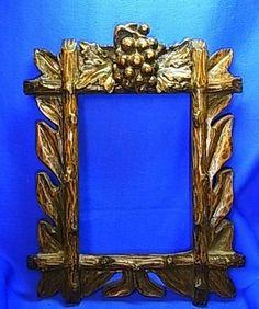 Antique German Wood Carved Picture Frame #CA