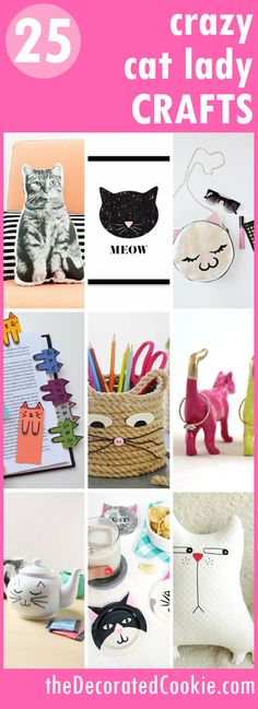 a roundup of 25 crafts for cat-lovers