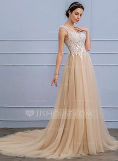 [US$ 206.69] A-Line/Princess Scoop Neck Court Train Tulle Lace Wedding Dress (002107855)