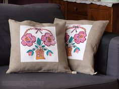 A set of two handcrafted linen pillowcases. Decorated with old hand embroidery i found in second hand.