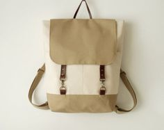 Ivory canvas backpack, laptop backpack, school bag, Featured on Frankie, 2 front pockets, Design by BagyBags