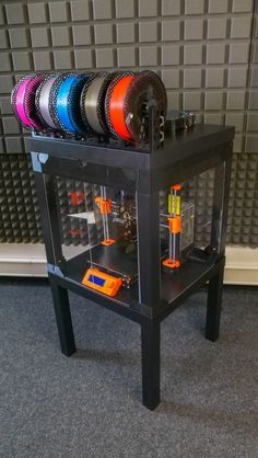 Prusa Printer Enclosure - with support - Prusa Printers Clear Acrylic Sheet, Acrylic Panels, Acrylic Sheets, 3d Printer Designs, 3d Printer Projects, Diy 3d Drucker, Ikea Lack Table, Desk Cover, 3d Printing Diy