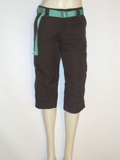 Nike Womens Crop Golf Pants size XS 0-2 FIT DRY Dark Brown & Turquoise PERFECT #Nike