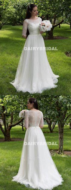 Vintage Lace Top Long Wedding Dress, Half Sleesve Tulle Cheap A-Line Wedding Dress, D1054