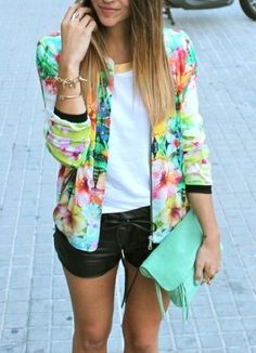Attractive black short, white shirt and Vibrant prints jacket for ladies