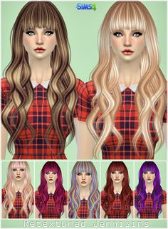 Jenni Sims's Retexture / Edit Elasims Hairstyle Converted Retextured Long hairstyles for Females - Sims 4 custom content