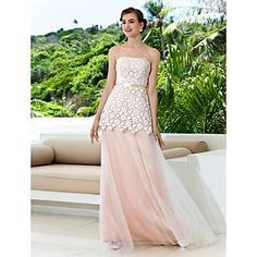 A-line Strapless Sweep/Brush Train Lace And Tulle Wedding Dress (871018) – USD $ 199.99