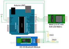 Arduino 8x8 LED Matrix Circuit Diagram