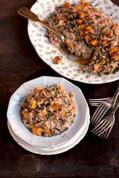 This wintry risotto relies on farro for its springy, al dente texture to contract the soft, rich roasted butternut squash, mushrooms, and sage.