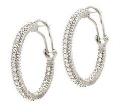 Judith Ripka Sterling or 14K Clad 2/3cttw Diamonique 1 Hoop Earrings