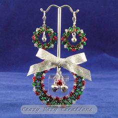 Christmas Holiday Beaded Wreath Brooch & Earring Set #3 via CrazyDazy