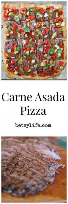 Did someone say steak? Game day deliciousness! Carne Asada Pizza recipe.  A dinner for your Super Bowl party