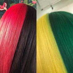 We love these 🌓 colours created by #blissemma & #blissemilie But which do you prefer? Comment ❤️ for pink and 💚 for green! #blisshair #loughborough #blisscreativecolour www.blisshair.com/