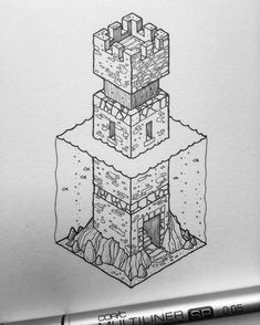Inktober No.14.  For sale: £31.  The fourteenth of my isometric Inktober illustrations. 31 days, 31 illustrations, £31 each.  #inktober #isometric #inktober #inktober2016