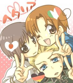 I don't side with the axis but this is pretty adorable. Hetalia - Germany Italy Japan
