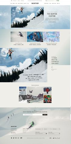 I like the overall design of Burton website. Elements are united by the color theme, repetitive rectangular pattern and typography. It also shows a good use of space, the page doesn't look cluttered while having a lot going on.
