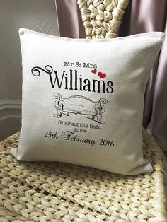 A personal favourite from my Etsy shop https://www.etsy.com/uk/listing/287117333/personalised-wedding-anniversary-cushion