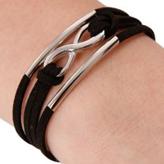 Black+Suede+w/+Silver+Infinity+Bracelet+by+Touch+Jewellery+on+THEHOME.COM.AU