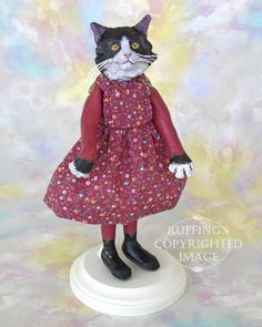 Zelda, Original One-of-a-kind Black-and-white Tuxedo Cat Art Doll by ... - Thiswaycome.com