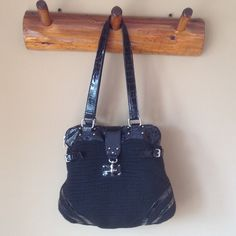 """Black Faux Alligator  & Crochet Fabric 19"""" x 15"""". 13"""" handle. Big compartment on the inside with one pocket that zips closed on one side. Flawless. Non smoking home. Bags"""