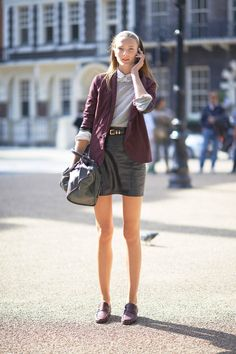 2012 NYC Fashion Week: Street Style 'Preppy Chic' [Pictured: Irina Kulikova] Blazer: All Saints Skirt: Marc Jacobs Shoes: Bass Bag: Balenciaga