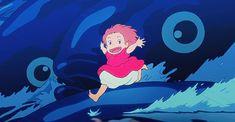 Ponyo sur la falaise gif Miyazaki