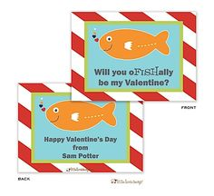 pair with goldfish crackers and Swedish fish. so cute! Goldfish Crackers, Swedish Fish, Happy Valentines Day, Save The Date, Dates, Pineapple, Stickers, Children, Bag