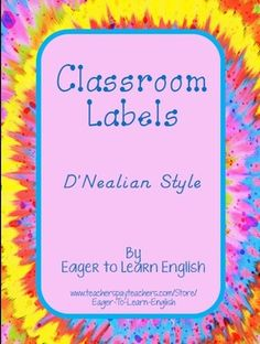 Included in this purchase are BOTH my English version (http://www.teacherspayteachers.com/Product/Classroom-Labels-in-English-DNealian-style-1619105) and Spanish version (https://www.teacherspayteachers.com/Product/Classroom-Labels-in-Spanish-DNealian-style-1642556) of my Classroom Labels written with D'Nealian style font.