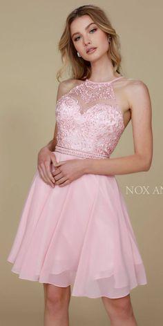 Nox Anabel T629 Blush A Line Short Homecoming Halter Dress –  DiscountDressShop 9ce6c9420