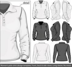 Elegant longsleeved shirt template 03 vector Vector misc - Free vector for free download