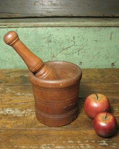 "Fabulous Old Antique Heavy Wooden Mortar and Pestle Set ~ ""Hannah's House Antiques"" Shop"