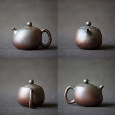 This wood fired teapot is an odd shape that resembles a somewhat out of shape xishi. The finish is rough and metallic, with a flared spout. This teapot holds approximately 170 ml of liquid. These pots are made from unglazed clay from De Hua. They are wood fired for 72-80 hours, with a naturally metallic …