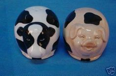 """Country Farm and Pig Salt and Pepper Shakers by Young's. $7.99. Measures 2.5"""" x 2.25"""" x 3.25"""". Ceramic Salt and Pepper Shakers. No getting these salt and pepper shakers mixed up.  This set of Salt and Pepper Shakers have raised ceramic details that gives great detail to this adorablepair!  This set measures 2.5"""" x 2.25"""" x 3.25"""".  Because this is hand-painted, please hand wash!"""