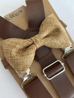 Peach Bow Tie, Gold Bow Tie, Leather Suspenders, Wedding Order, Burlap Bows, Tie Set, Different Fabrics, Tan Leather, Take That