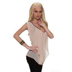 Ausgefallenes Top Kurzarm Shirt mit Kunstledersaum Shirts, Tunic Tops, Women, Fashion, Hemline, Leather, Moda, Fashion Styles, Dress Shirts