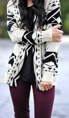 fall fashion / tribal print cardigan
