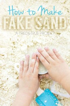 Can't take the kids to the beach than bring the beach to them with this easy Fake Sand recipe! Just two ingredients and they'll be having fun in no time!