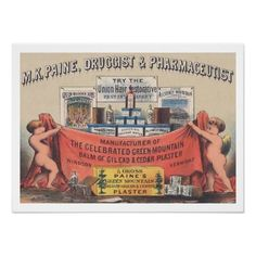 Vintage Medicine Poster  This stunning vintage advertisement for M. K. Paine - Druggist & Pharmacuetist would look beautiful in any...