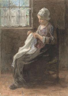 Het naaistertje, Jozef Israëls, 1834 - 1911