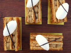 Vanilla-caramel mille-feuille, made with puff pastry and vanilla Chantilly cream at B. Patisserie     http://www.purewow.com/slideshow/sf/4940/Macaron-cake-at-B-Patisserie-sil-vous-plait.htm#slideNum=2#ixzz2MiRTqGzY