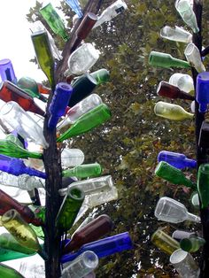 """Bottle trees originated in Africa, came to America during the slave trading. Bottles are hung so """"bad spirits"""" are caught inside only to be released if the bottle breaks. I love mine, haven't caught any spirits yet because I live in the north and my bottles hang upside down so they don't freeze in the winter"""