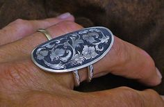 Engraved sterling silver saddle ring by DouglasSilver on Etsy, $150.00